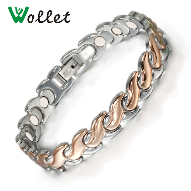 Wollet Jewelry Rose Gold Color or No Plating Magnetic Stainless Steel Bracelet for Women Healing Energy Health Care