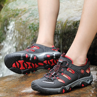 Clorts Trekking Shoes For Men Hiking Shoes Suede Leather Mountain Outdoor Shoes Breathable Climbing Shoe