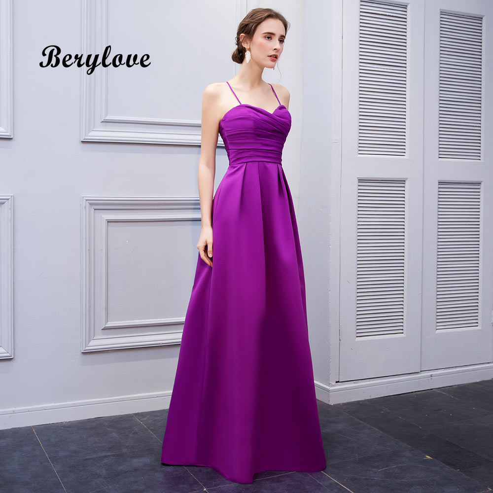 Simple And Elegant White Satin Sweetheart With Jacket: BeryLove Simple A Line Fuchsia Evening Dresses 2019 Long