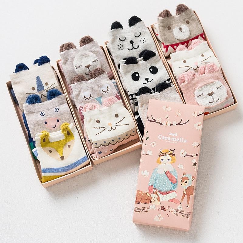 Oln 47B 11-16 мода chausettes Femme Kawaii Panda Носки для девочек носки с мультяшным рисунком (20 пар/лот) (5 пар/упак.)