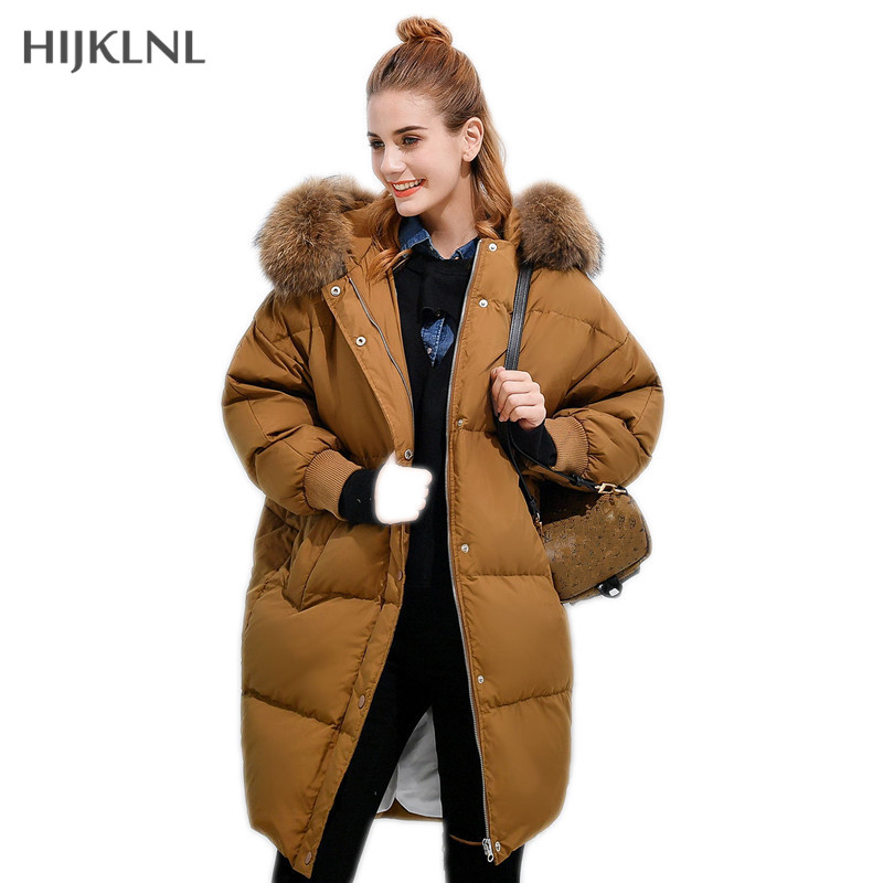 HIJKLNL BF style Loose   Down     Coat   Parkas Mujer Invierno 2019 New Winter Women Jacket Raccoon Fur Hooded   Down     Coat   Donsjas LH1074