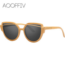 AOOFFIV Wood Sunglasses Women Polarized Lens Sun Glasses Bamboo Frame Eyewear 2017 New Designer Shades UV400 Protection W1904