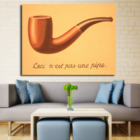 Famous Canvas Wall Painting Oil Reproduction This is Not a Pipe Home Decor Art Surrealism Hand Painted No Framed