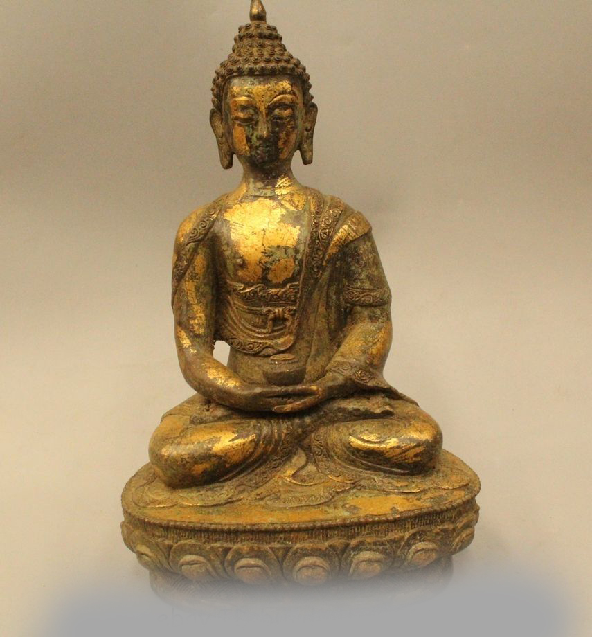 "13"" Tibet Buddhism Bronze Gilt Seat Lotus Shakyamuni Amitabha Buddha Bowl Statue|statue bronze|statue tibet|statues buddha - title="