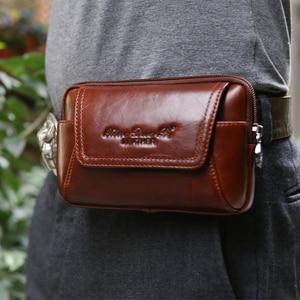 Image 4 - Smartphone pochette de ceinture en cuir véritable étui Vintage pour Iphone 6 6s 7 Plus 5s 4 pochette de ceinture sac à main sac de taille pour 4.5 ~ 6.0 téléphones