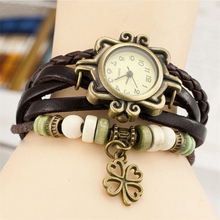 Fashion bracelets table hot blasting in female watches a Four Leaf clover bracelet watch ladies retro