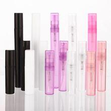 100 sztuk/partia 2ml 3ml 4ml 5ml różowy biały czarny przezroczysty z tworzywa sztucznego spray do perfum butelki próbki rozpylacz mgiełki do twarzy perfumy z atomizerem butelka