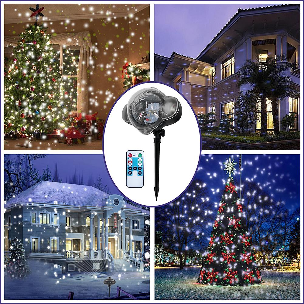 IP65 Moving Snowfall Projector Snow Outdoor Garden Laser Projector Lamp Christmas Snowflake Laser Light For New Year Party S3 недорого