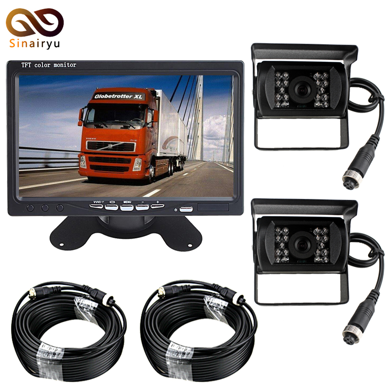 DC12-24V 7 Inch TFT LCD Car Parking Monitor + 2 PCS 4 Pin IR Night Vision CCD IR Backup Camera For Bus/Van/Truck все цены