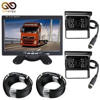 DC12 24V 7 Inch TFT LCD Car Parking Monitor + 2 PCS 4 Pin IR Night Vision CCD IR Backup Camera For Bus/Van/Truck