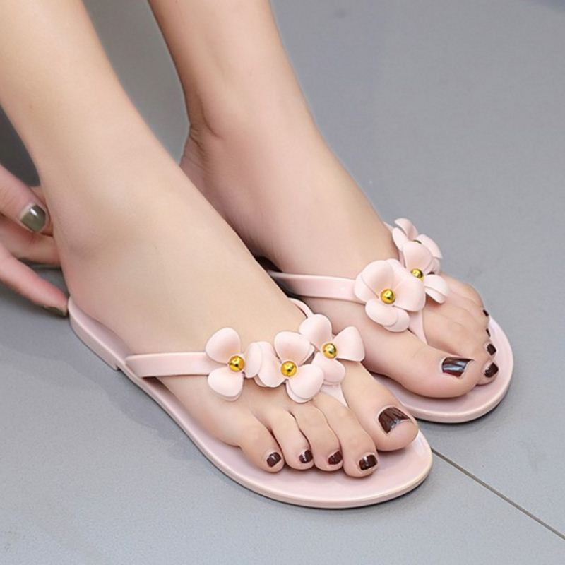 KemeKiss Women Slippers Flip Flop Flower Slip On Women Summer Shoes Sweety Korean Daily Beach Holidays Footwear Size 36-40