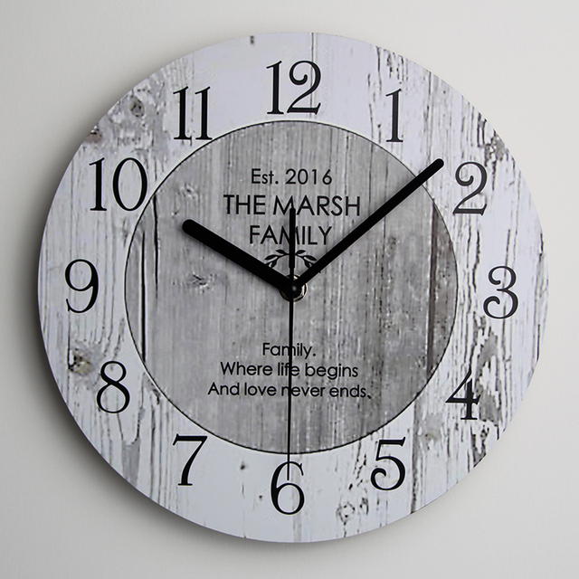 wooden kitchen clock modern pulls shabby chic large wall new home vintage