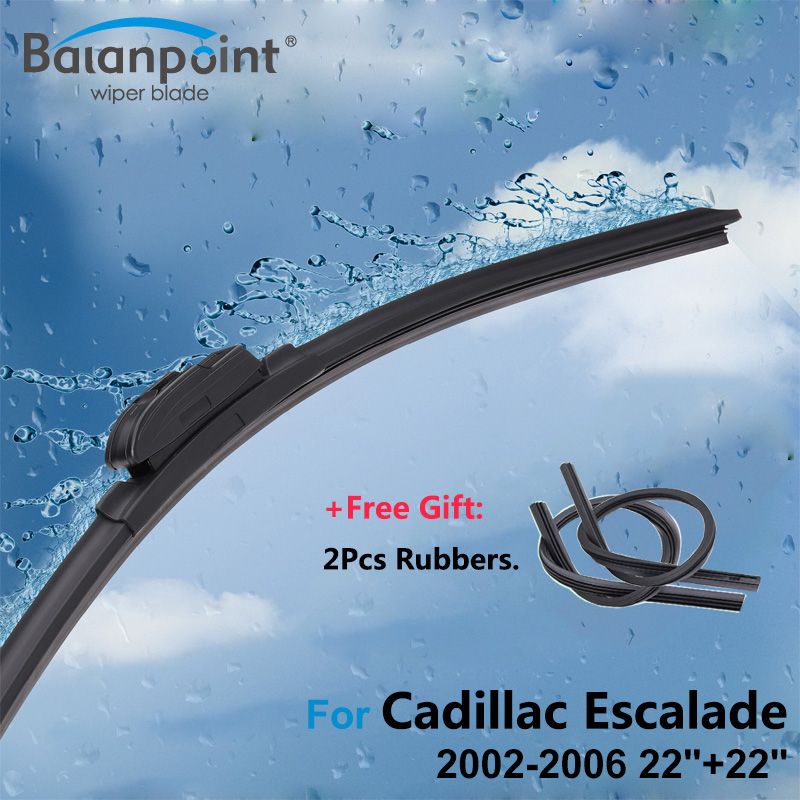 2Pcs Wiper Blades + 2Pcs Soft Rubbers for Cadillac Escalade 2002-2006 22+22, Clean Windscreen Wipers for Rain