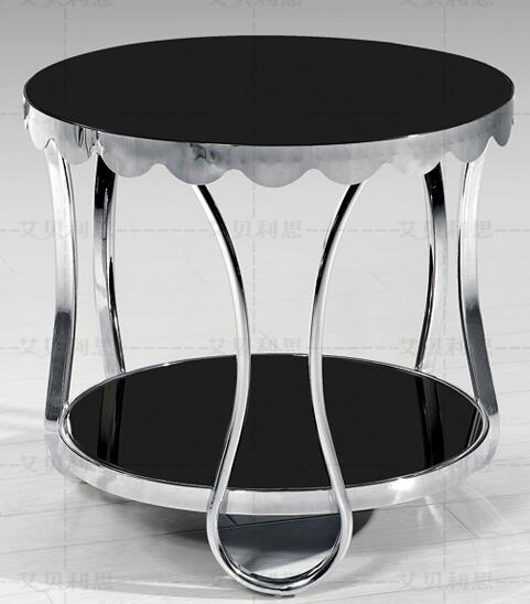 Small tea table, sofa. Toughened glass stainless steel frame the tea-table