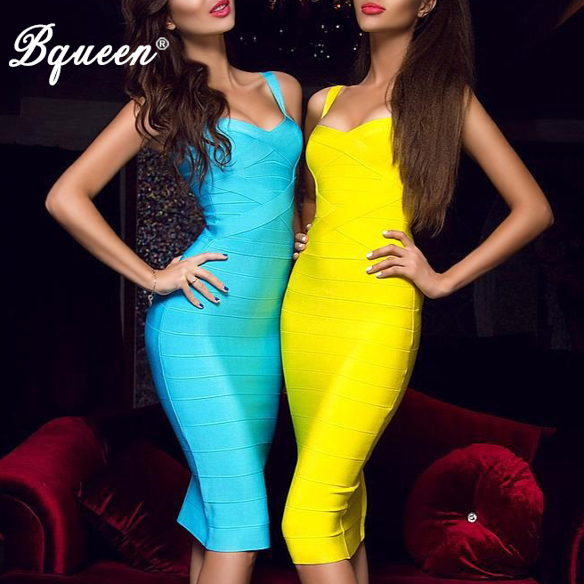 Bqueen 2019 New Women Bandage Dress Sexy Kjærlighet Elastisk Lady Spaghetti Strap Runway Club Bodycon Party Kjoler Midi