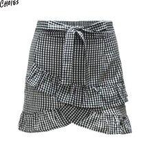 Black Plaid Layered Ruffle Bow Tie High Waist Mini Pencil Skirt Women Silm Skinny Street Style Fahion Bottom Wear