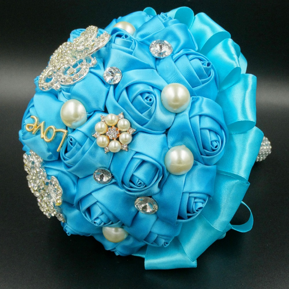 Online get cheap teal silk flowers aliexpress alibaba group wedding accessories blue stain silk rose teal artificial rhinestone bridal bouquets beaded pearl white crysta wedding bouquets dhlflorist Gallery