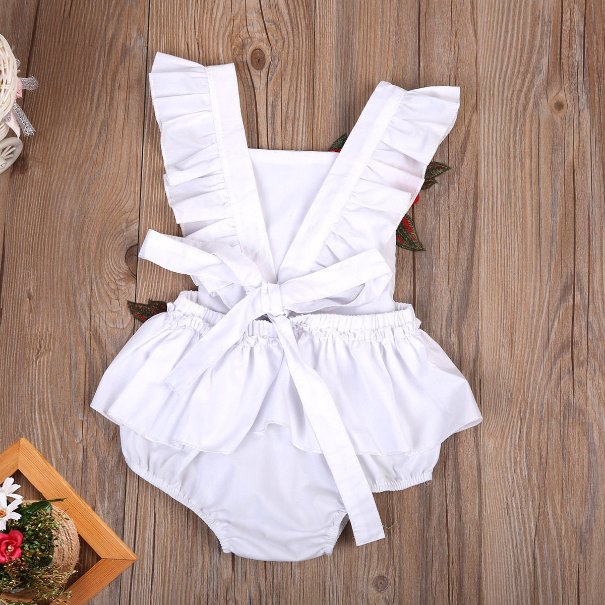 fa0cb68d79f Embroidery Flower White Newborn Baby Infant Girl Clothes Floral Backless  Romper Jumpsuit Body suit Sunsuit clothes for newborns-in Bodysuits from  Mother ...