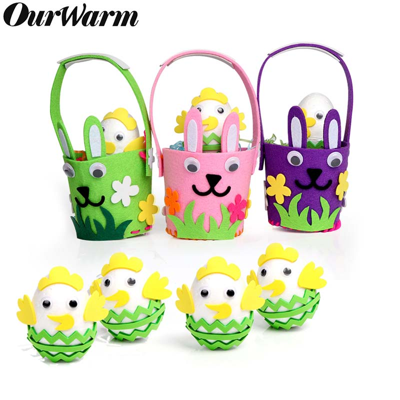 OurWarm DIY Easter Basket Eggs Rabbit Decoration Handmade  Needlework Creativity Sewing Felt Toys For Children Easter decoration