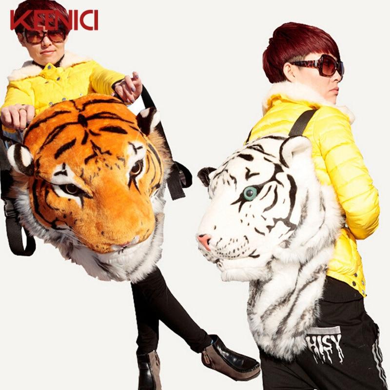 2016 Fashion Creative Animal Style Lifelike Simulation Tiger Head Lion Backpack Shoulder Bag Bigbang G-dragon Spoof Gift Party