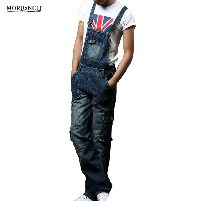 MORUANCLE New Men's Denim Bib Overalls Fashion Cargo Jeans Jumpsuits Suspender Pants For Big And Tall Super Size M-8XL plus size pants the spring new jeans pants suspenders ladies denim trousers elastic braces bib overalls for women dungarees