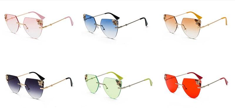 Rhinestone Cat Eye Sunglasses Ladies Triangle detail (4)
