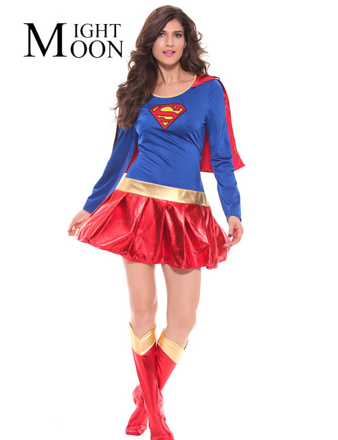 MOONIGHT Woman Superhero Costume Fancy Dress Outfit Halloween Super Girl Superwoman Costume for Halloween Costume