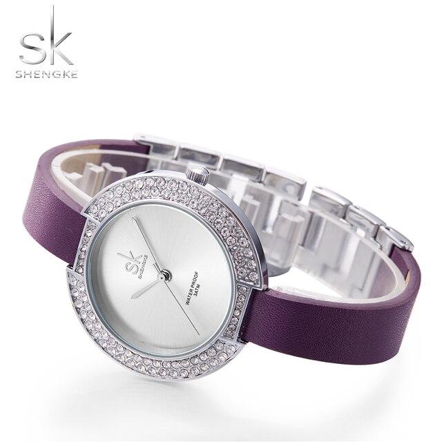 958e166bb Shengke New Female's Watches Diamond Mystic Purple Leather Band Ladies  Wristwatch Simple Luxury Quartz Watch Women Clock SK