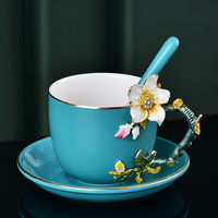 Color Enamel Coffee Mug Tea Cups and Mugs with Saucer Sets Porcelain Delicate Flower Rhinestones Creative Drinkware Wedding Gift