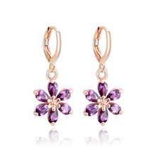 H:HYDE Hot Selling CZ Crystal Dangle Drop Earrings For Women Gold Color Brincos Waterdrop Zircon Earring