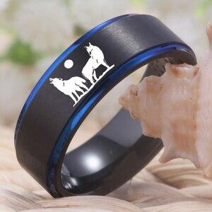Image 4 - YGK Howling wolf Design Wolfram Ring männer Klassische Hochzeit Engagement Jahrestag Liebhaber der Ring Geschenk Ring Freies Gravur