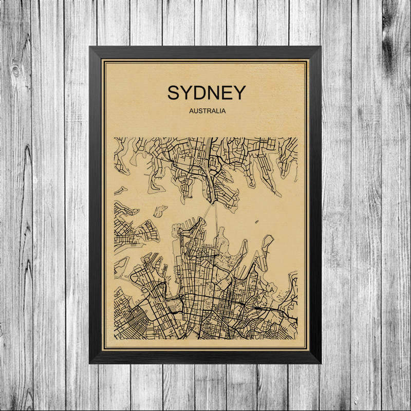 Beschichtetes Papier Bar Retro Poster Sydney Karte STADT Welt Abstrakt Cafe Dekoration Pub Wohnzimmer Malerei