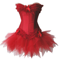 MOONIGHT Red satin sexy corset top waist corsets and bustiers with padded cup underwire +Skirt+G string S 2XL