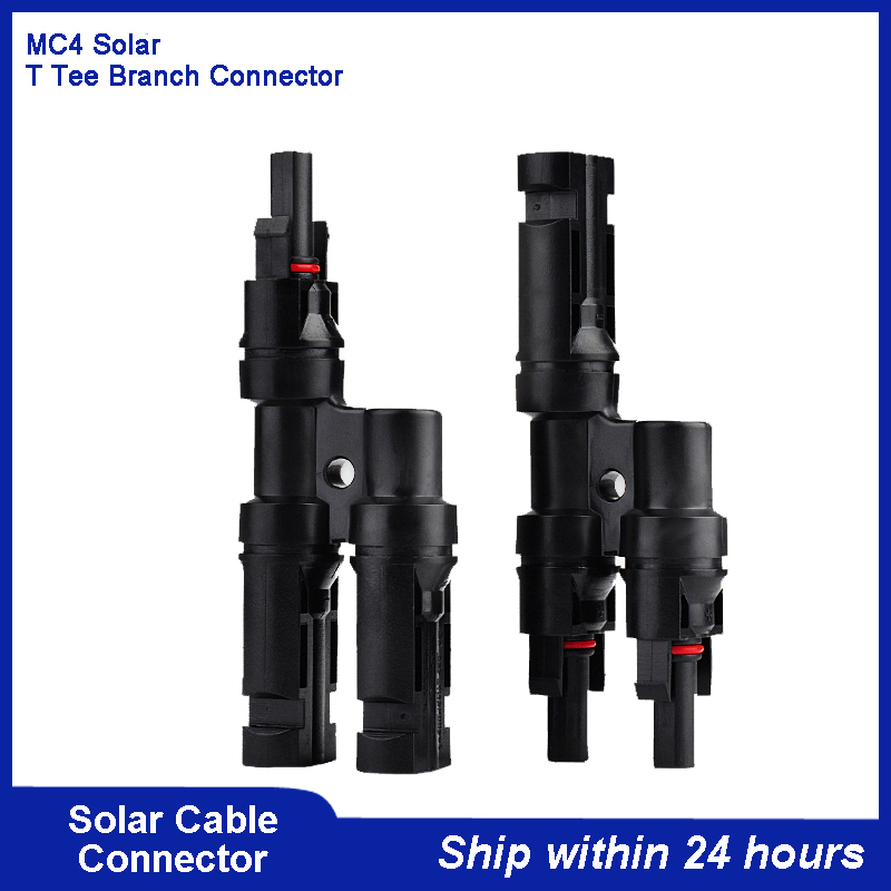 New MC4 30A Solar PV T Branch Three-way Tee Cable Connector/Solar T type (1 to 2) Coupling/IP67 Waterproof Solar Panel Connector 100 pieces 30a solar panel mc4 conectores ip67 1000v dc mc4y b4 4 pin waterproof connector female and male solar cable
