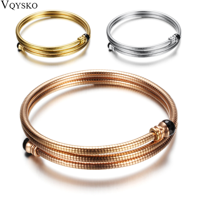 Ouro/Ouro Rosa/Prata Tripe Aço Inoxidável Três Cabo de Fio Trançado Manguito Pulseira Bracelelt Para Mulheres Bangle Ajustável pulseira