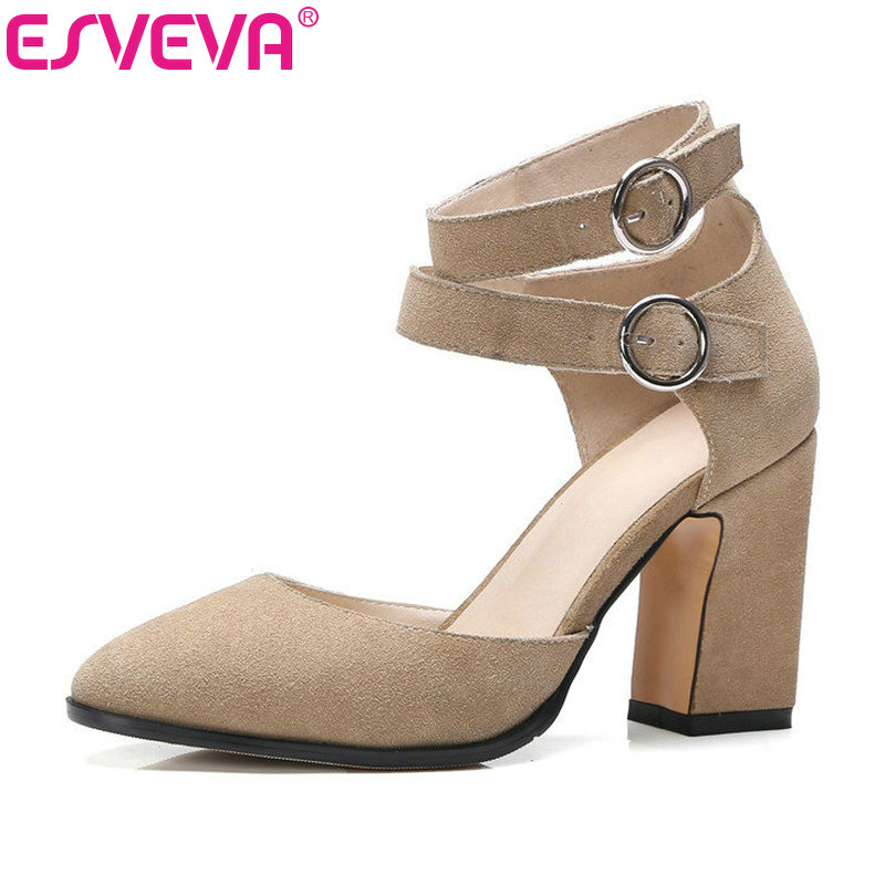 ESVEVA 2017 Western Real Leather High Heel Woman Pumps Spring Autumn Party Shoes Pointed Toe Ankle Strap Wedding Shoe Size 34-39 esveva sexy flock thin high heel women pumps summer party pointed toe woman pumps ankle strap ladies wedding shoe size 34 43