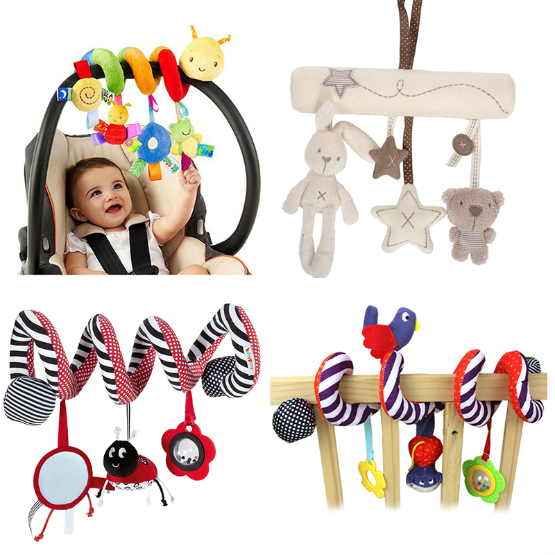 Colorful Striped Cow Newborn Bed Stroller Soft Hanging Crib Toy With Rattle LH