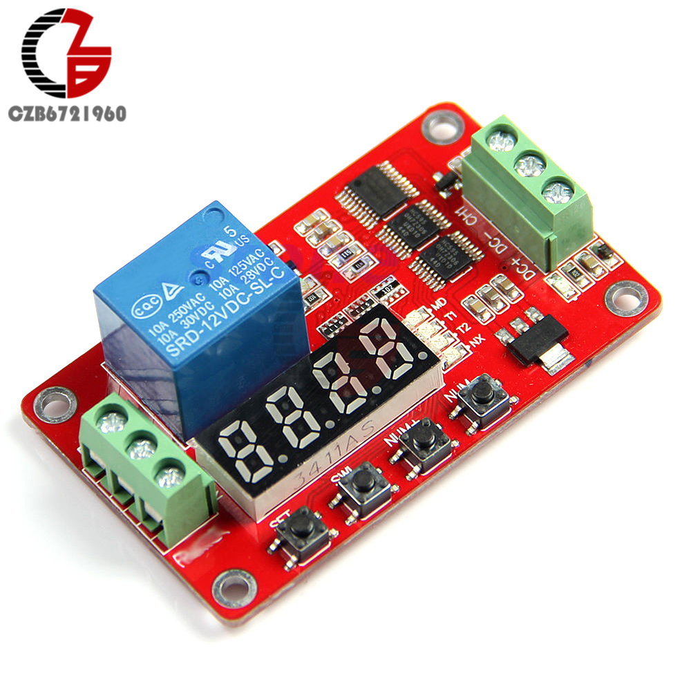 12V DC Multifunction Self-lock Relay PLC Cycle Delay Time Timer Switch Module PLC Home Automation Delay Module led digital display circle delay time relay module time adjustable blue 12v