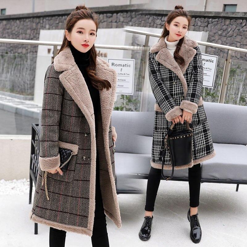 Повседневное плотное хлопковое Женское зимнее пальто из искусственной овечьей шерсти 2019 модное Фланелевое женское теплое шерстяное длинное пальто