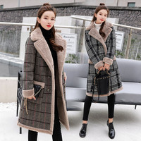 Casual Thick Cotton Women's Winter Faux Lambs Wool Coat 2018 Fashion Flannel Woman Warm wool blends long Coats