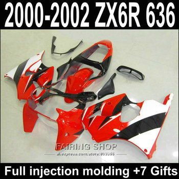 100%Fit plastic Fairing kit For Kawasaki ZX6R 2000 2001 2002 zx-6r ( Red white ) Customize decal free for Fairings S37