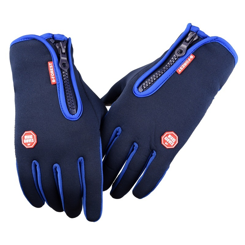 Touch screen gloves for men and women winter windproof riding waterproof warm hand motorcycle zipper full finger gloves