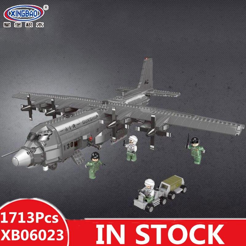 XINGBAO 06023, 1713 piezas militares la serie AC130 aérea lancha modelo bloques de construcción ladrillos juguetes educativos, regalos de cumpleaños-in Bloques from Juguetes y pasatiempos    1