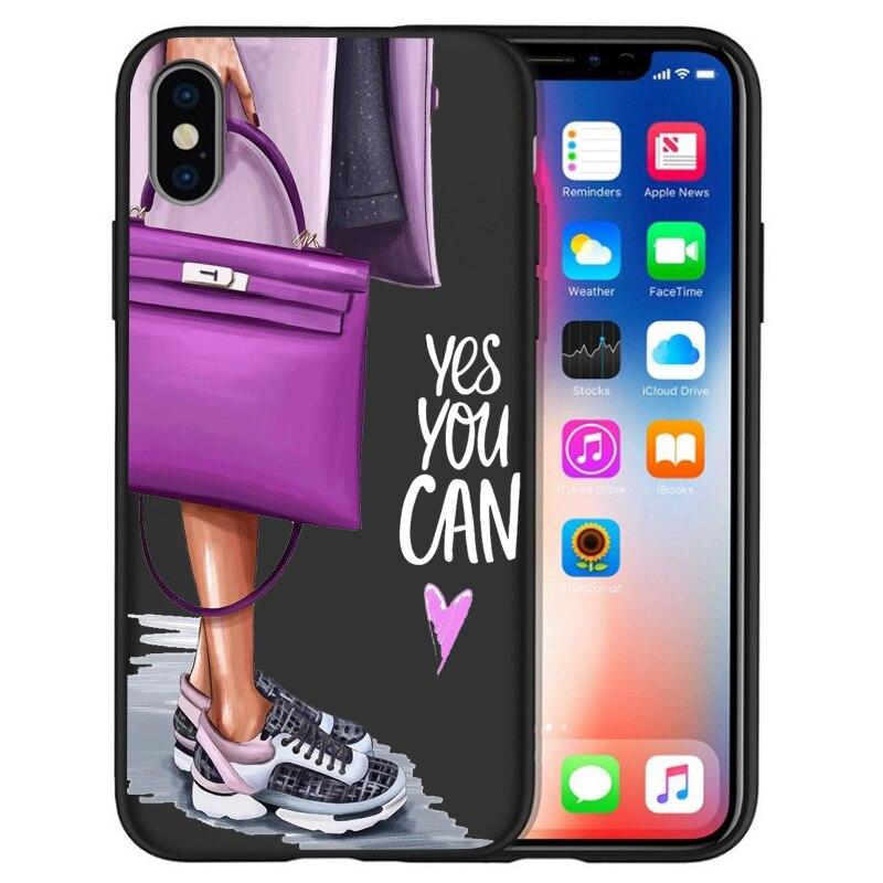 Модный Роскошный чехол для телефона на высоком каблуке с цветочным узором для девочек, чехол для iphone X XS Max XR 6 7 8 Plus 5S SE, мягкий чехол Etui - Цвет: 05
