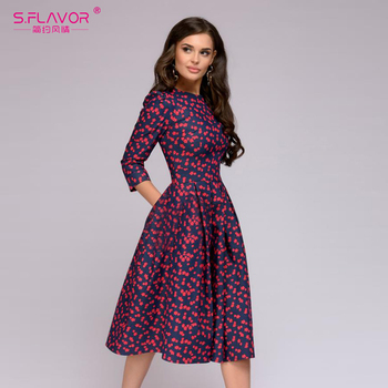 S.FLAVOR Women Elegant A-line Dress 2019 Vintage printing party vestidos Three Quarter Sleeve women Slim Autumn Winter Dress 1