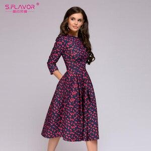 Image 2 - Sabor feminino elegante a linha vestido midi impressão vintage vestidos de festa três quartos manga feminina 2020 outono inverno vestido