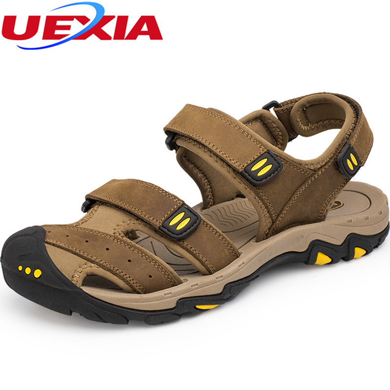 Plus Size 38-47 Brand New High Quality Men Leather Zapato Sandals Breathable Comfortable Summer Shoes Fashion Flat Male Sandals