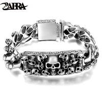 Skills Old Silversmith 100 925 Silver Domineering Skull Bracelet Thai Silver Hipster Locomotive Male Personality Punk