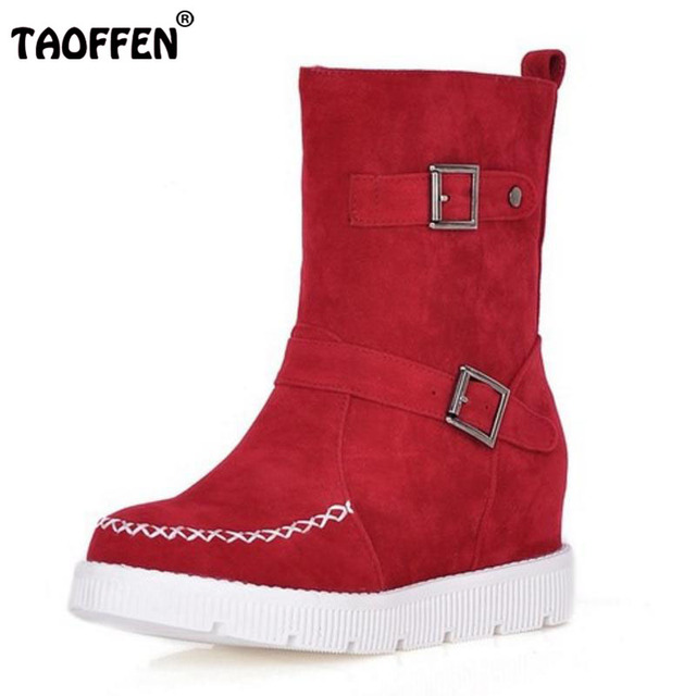 75f28c390f TAOFFEN Size 34-43 Women Half Short Flats Boots With Thick Fur Metal Flat Boots  In Winter Botas Snow Shoes For Woman Footwears