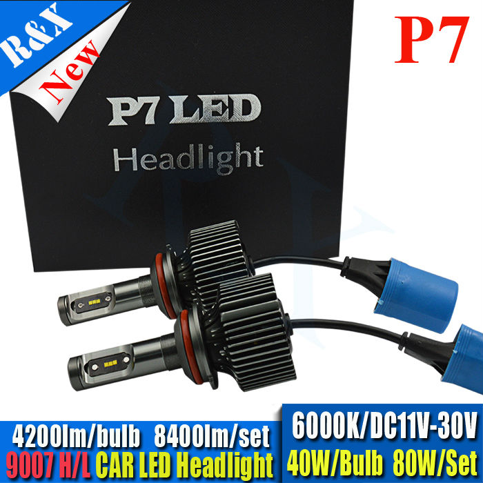 All in one 8400LM 80w P7 CSP Chips 9007 canbus led headlight lamp Hi/Lo auto 9007 led car headlight bulbs 9007 led headlight kit all in one canbus 80w 8000lm cree chip led h4 hi